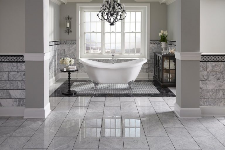 921100256_nero-marble-tile_931100807_bianco-carrara-polished-pinwheel_100087840_bath-floor_100084961_wall-classic_room